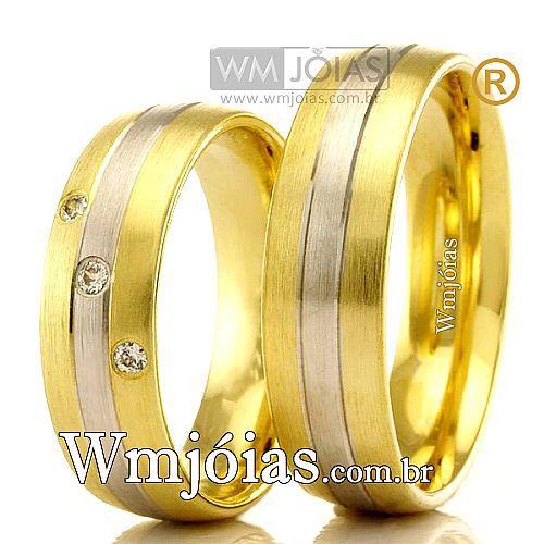 Aliancas em ouro 18k branco e amarelo WM2377