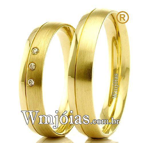 Alianças em ouro 18k casamento e noivado WM2310