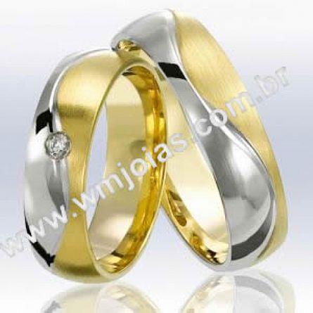 Alianças em ouro branco e amarelo 18k WM2264