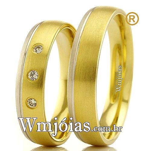 Aliancas em ouro branco e amarelo 18k WM2368