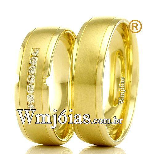 Aliancas em ouro  casamento 18k WM2359