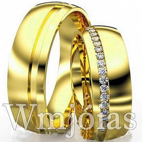 Alianças em ouro com pedras modelo diferente 6,5mm e 16 a 18G WM3111