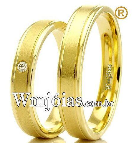 Alianças Evangélicas  em Ouro 18k para Noivado WM2293