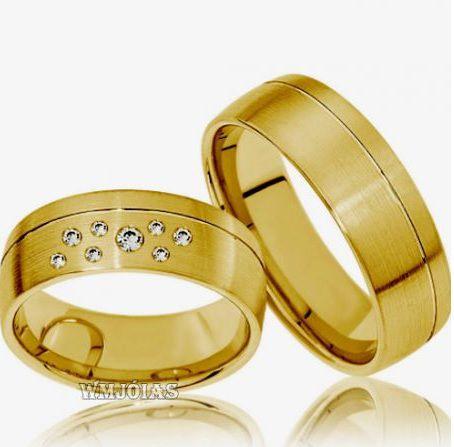 Alianças Evangélicas em ouro modelo trabalhado 14G 7mm - WM3133