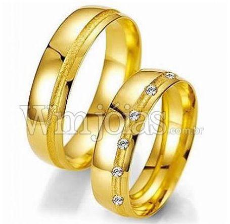 Alianças Evangélicas ouro amarelo com Brilhantes- WM2254