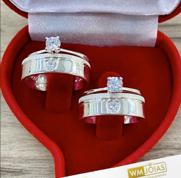 Alianças femininas de namoro com 2 Anéis Solitários  WM10263