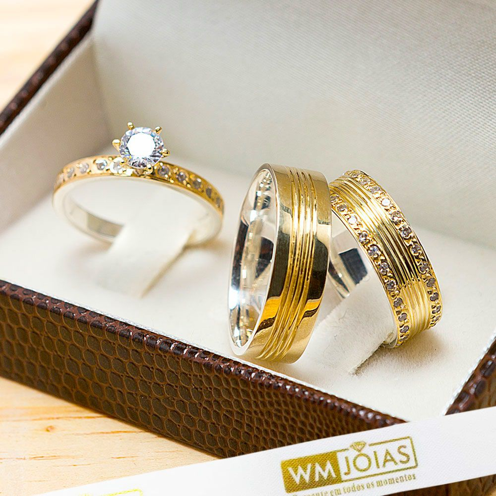 Alianças maciças em ouro e prata com anel solitário WM10209