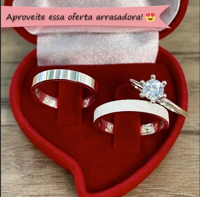 Alianças namoro em prata + anel solitário WM10283