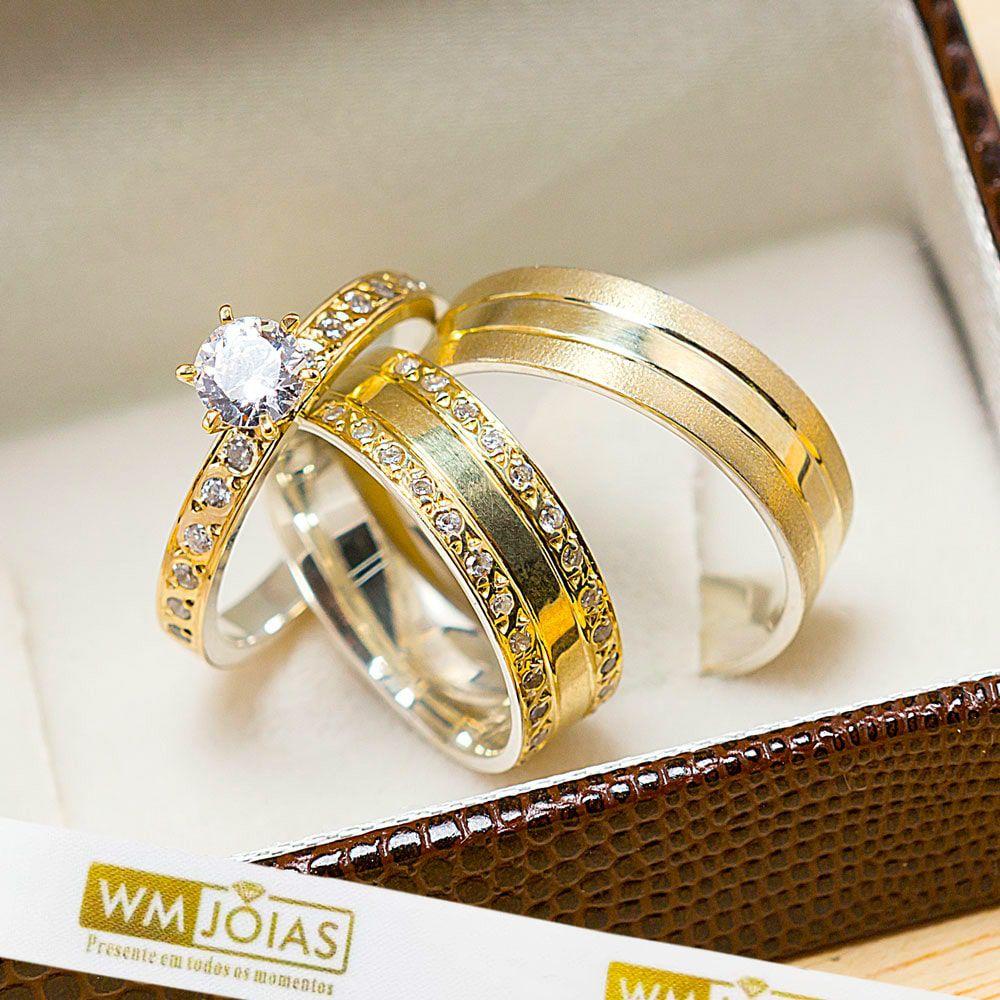 Alianças noivado e casamento modelo anatômico, ouro e prata  WM10208