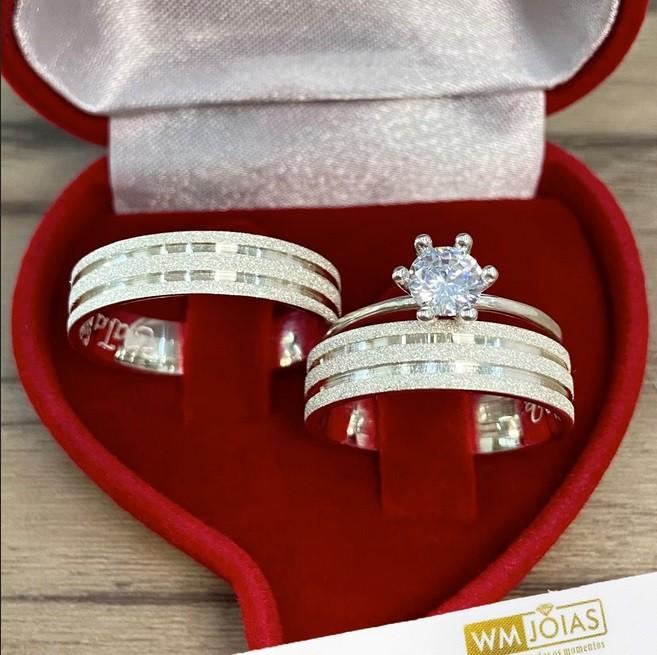 Alianças para namoro e anel solitario  8 G Largura 5mm - WM10130
