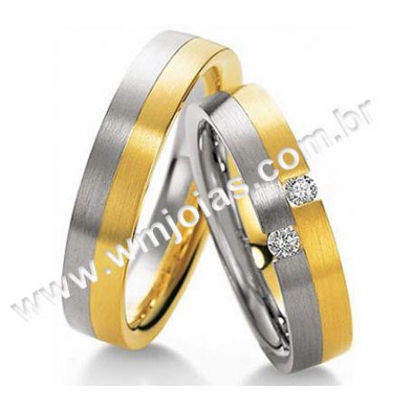Alianças para noivado, casamento e bodas ouro e prata 5mm com pedras WM3115