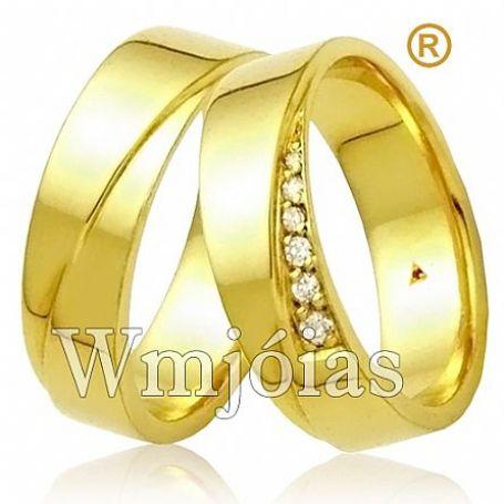 Alianças para noivado e casamento com pedras peso 10 a 12g e 6mm WM3098