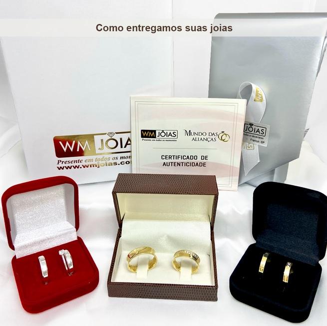 Alianças prata coração vazado + anel  5mm - WM10331