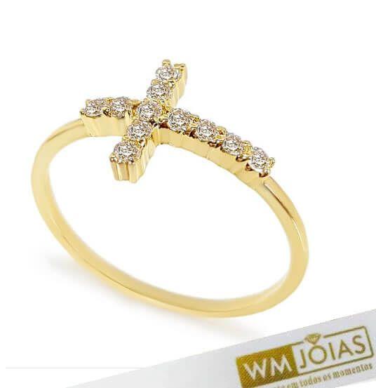 Anel  Cruz com Pedras em Ouro WM10174