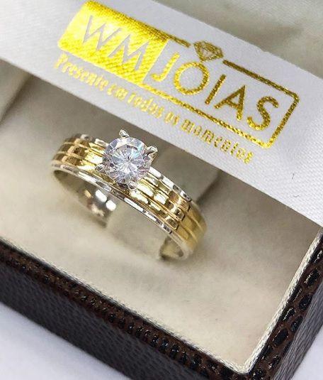 Anel de noivado prata e ouro WM3207