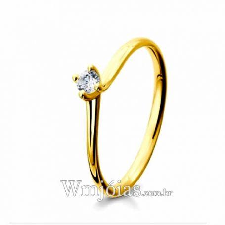 Anel de Noivado Solitário em Ouro 18k750 WM3123