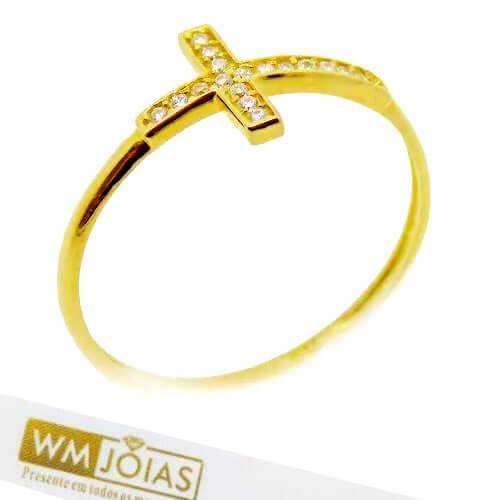 Anel de Ouro Cruz com Pedras WM10161