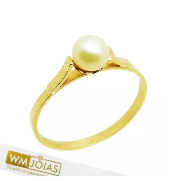 Anel de Pérola em Ouro 18k 750 WM10163