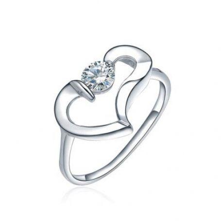Anel de prata coração vazado WM3205