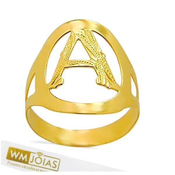 Anel Letra ouro amarelo 18K WM10159