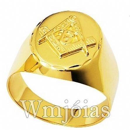 Anel Maçonaria ouro 18k 750 WM2910