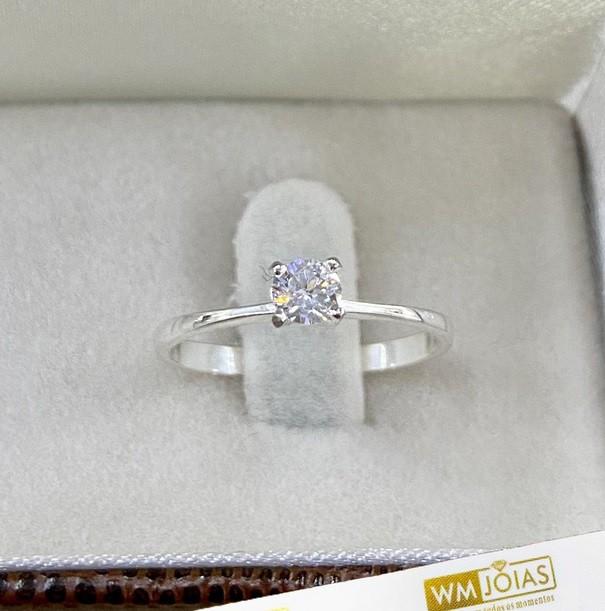 Anel Solitário em prata 950 com zircônia-WM10216