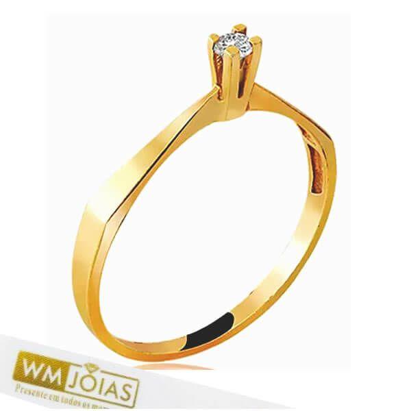 Anel Solitário Ouro Amarelo 18k750 WM10172