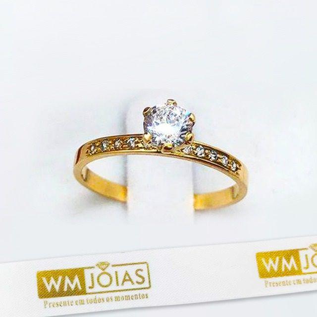 Anel solitario  ouro  amarelo 18k 750   WM10146