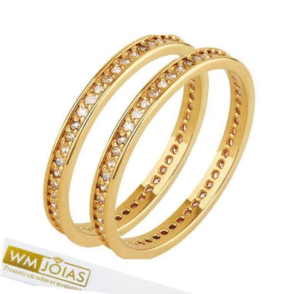 Aparador ouro amarelo 18k  com pedras - WM10150