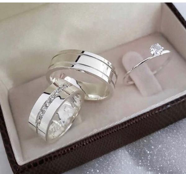 Kit alianças de compromisso com anel WM10278
