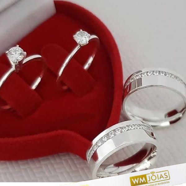 Kit alianças de namoro com 2 Anéis Solitários em Prata WM10227