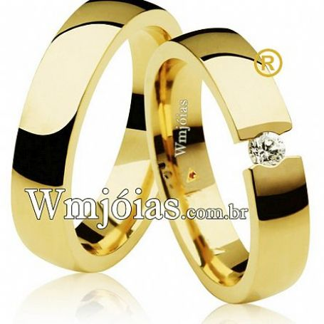 Par de aliança de ouro feminina com pedra 4,2mm 6 a 8G WM3107