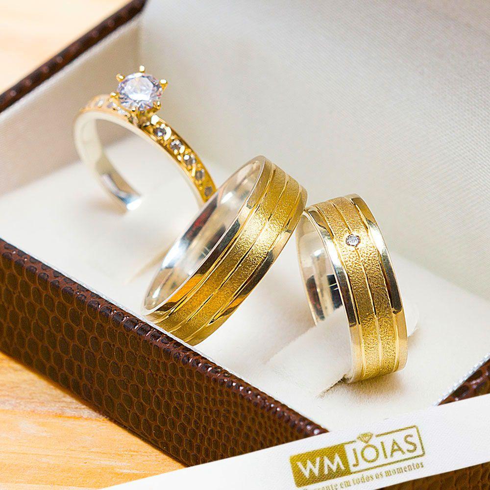 Par de alianças com metal  nobre 6mm de largura acompanha anel WM10204
