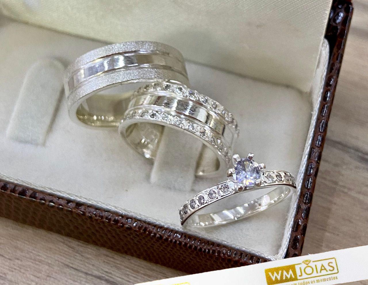 Par de alianças de compromisso em prata 950 Peso 15 gramas 7mm WM10071