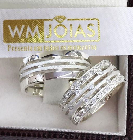 Par de alianças de compromisso em prata 950 Peso 16 gramas 8mm WM10073
