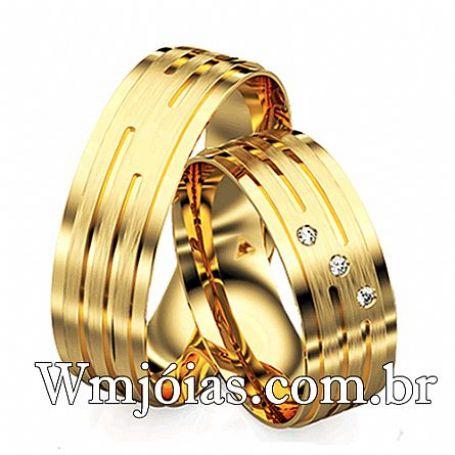 Par de Alianças de noivado e casamento com 7mm de largura peso 11 a 14 G WM3106