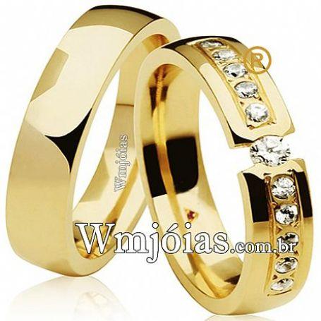 Par de alianças de noivado e casamento com pedras 6mm e peso 10 a 12 G WM3122