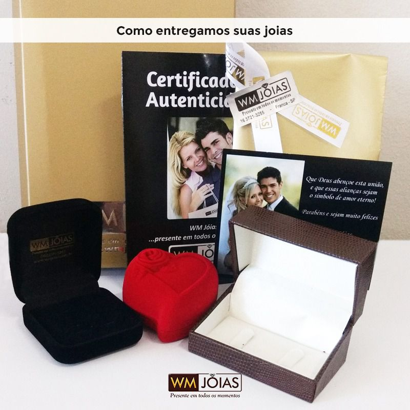 Par de  alianças mais anel de noivado em ouro -WM10009