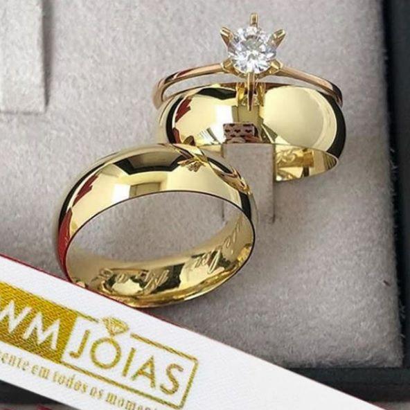 Par de  alianças mais anel de noivado em ouro WM10034