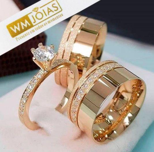 Par de  alianças mais anel de noivado em ouro  WM10061