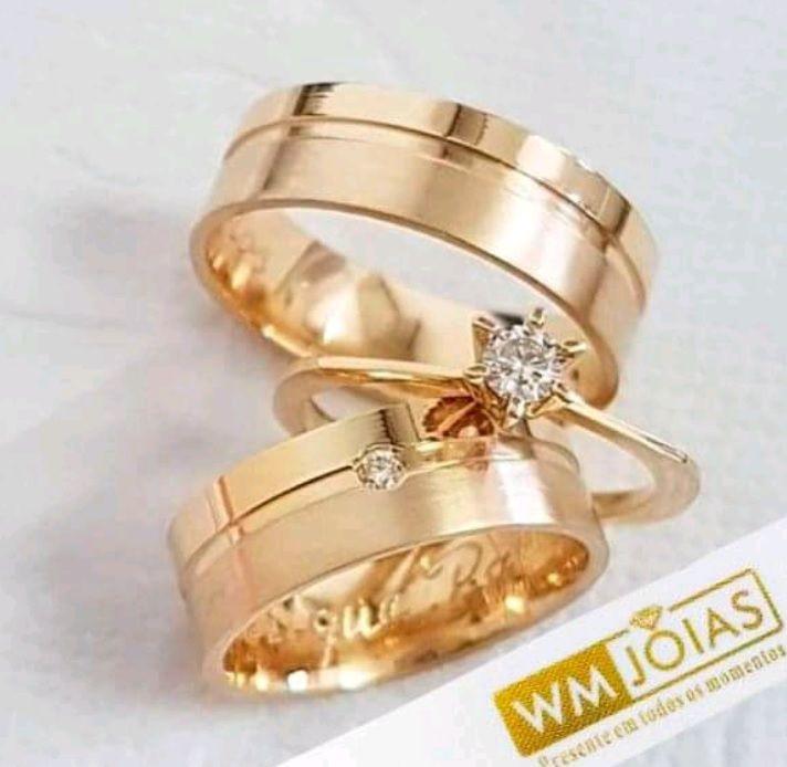 Par de  alianças mais anel de noivado em ouro  WM10075