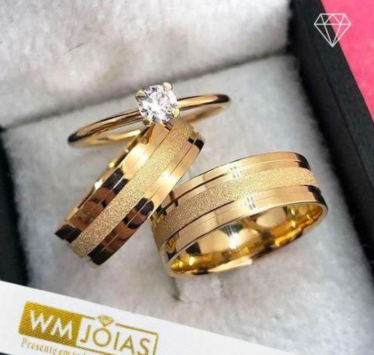 Par de  alianças mais anel de noivado em ouro WM10098