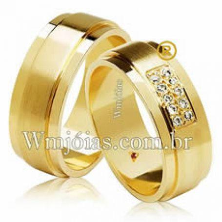 Par de alianças ouro com 6 mm de largura de 10 a 12 Gramas WM3099