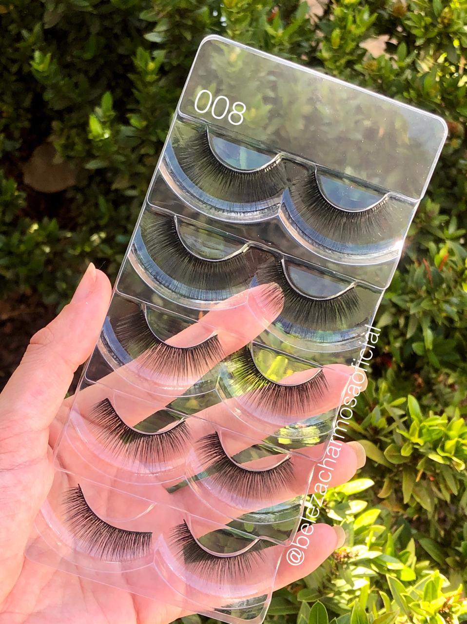 Caixa 05 Pares De Cílios Postiços 6DMink 008- Ruby Anjo