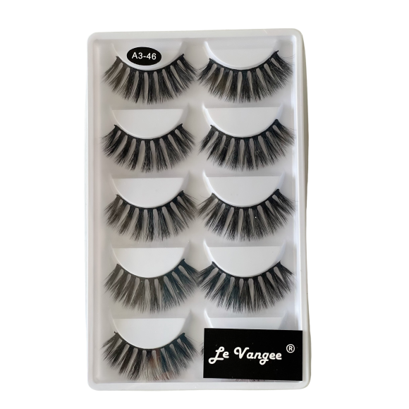 Caixa 5 Pares De Cílios Postiços Premium #A3-46 - Le Vangee