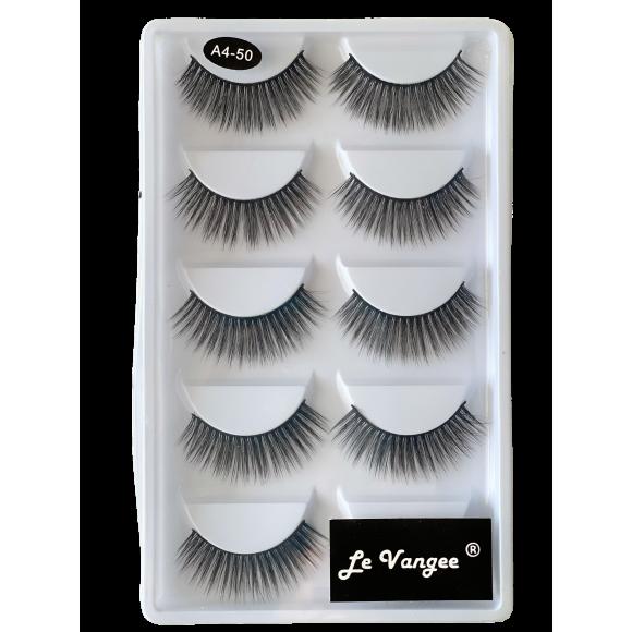 Caixa 5 Pares De Cílios Postiços Premium #A4-50 - Le Vangee