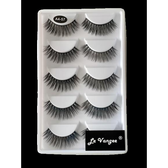 Caixa 5 Pares De Cílios Postiços Premium #A4-57 - Le Vangee