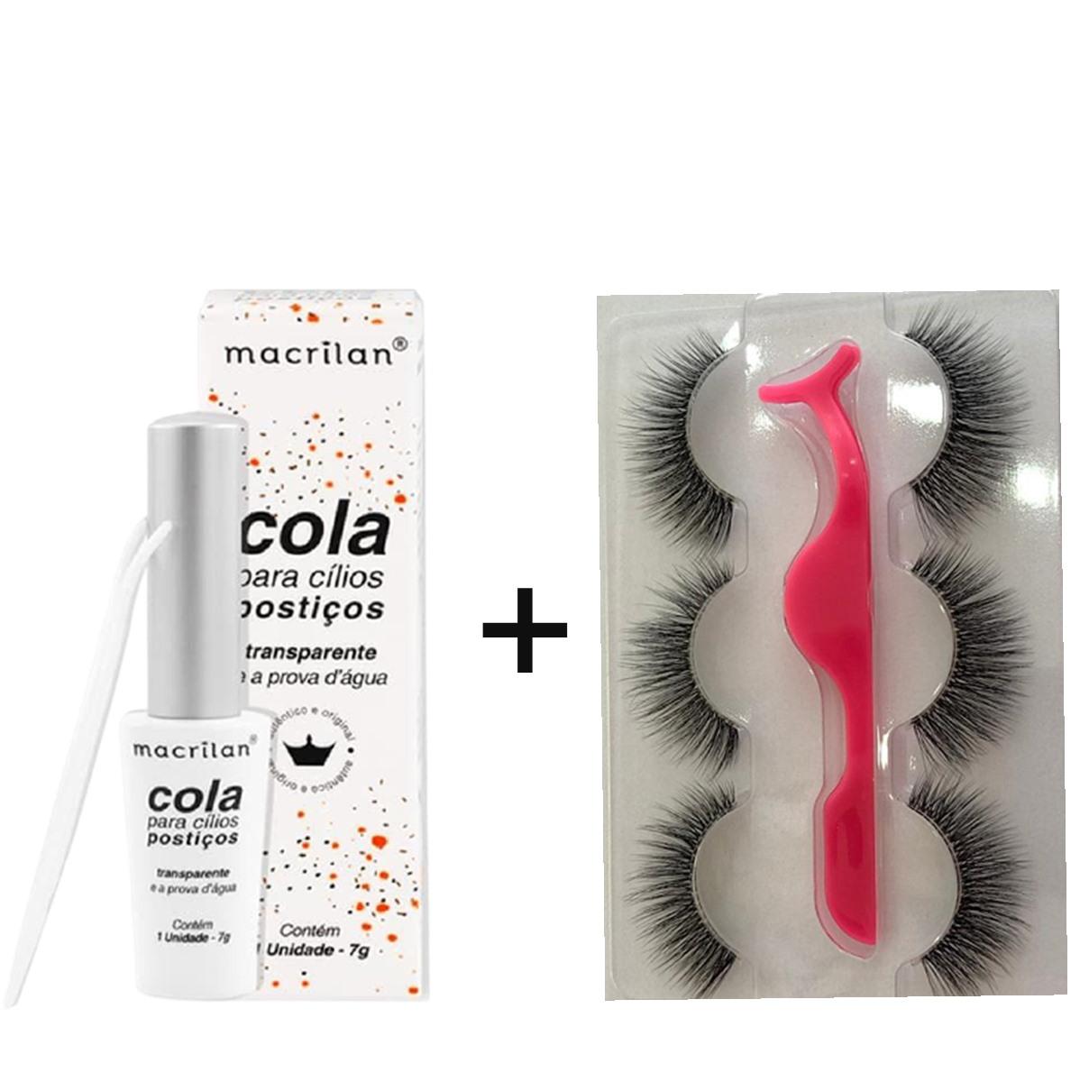 Cílios Postiços Kit C/ 3 Pares + Cola Macrilan