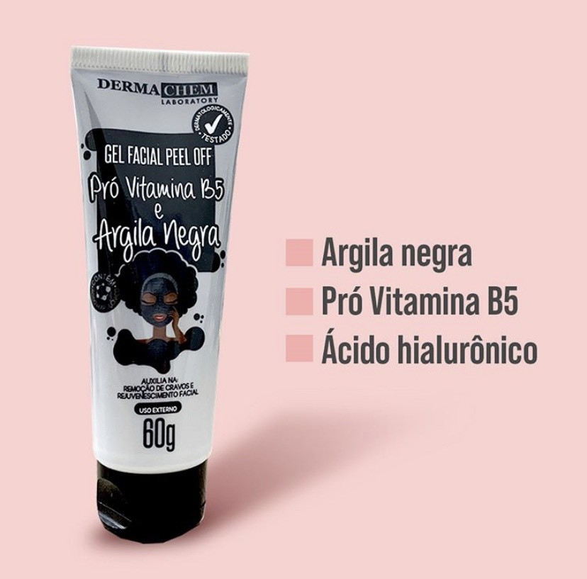 Gel Facial Peel Off Vitamina B5 Argila Negra  60g - Derma Chem Laboratory