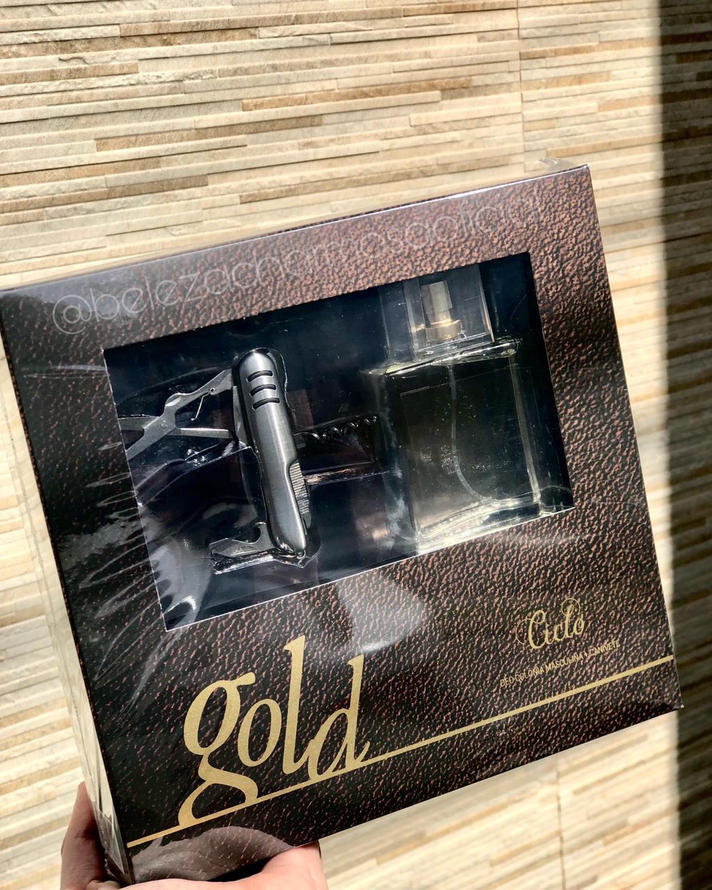 Kit Presente dias dos Pais Gold - Ciclo Cosméticos 50ml Perfume Masculino Deo Colônia + Canivete
